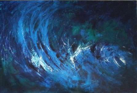 Abstract Acrylic Art Painting title 'Breathing Blue' by artist Sanjay Akolikar