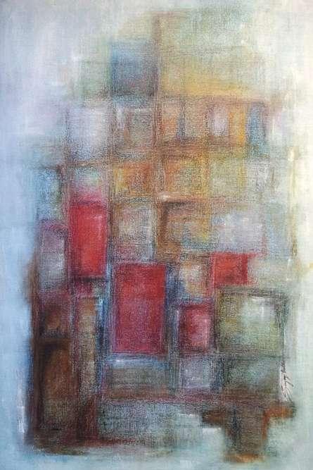 Abstract Oil Art Painting title 'One Rainy Secret' by artist Sanjay Akolikar