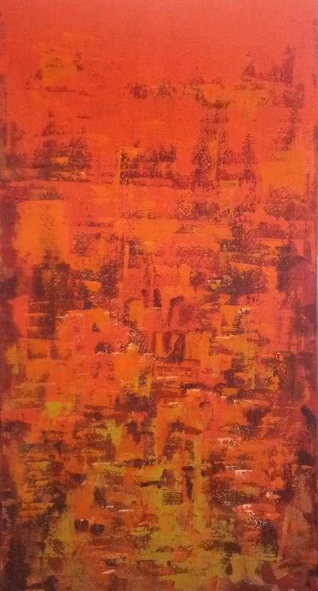 Dripping Orange   Painting by artist Sanjay Akolikar   acrylic   Canvas