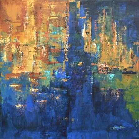 Sanjay Akolikar | Acrylic Painting title Composition 10 on Canvas | Artist Sanjay Akolikar Gallery | ArtZolo.com