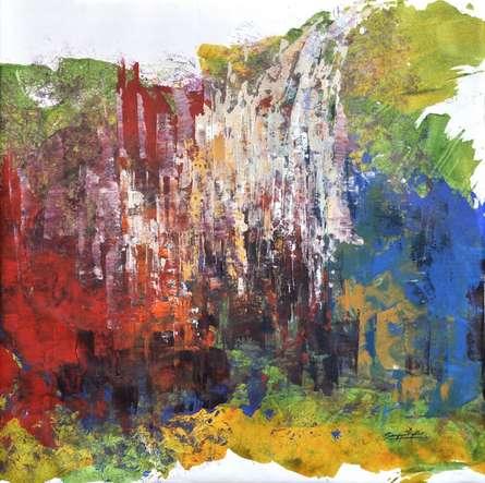 Abstract Acrylic Art Painting title 'Composition 11' by artist Sanjay Akolikar