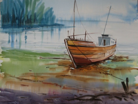 Landscape 2 | Painting by artist Abhijit Bhattacharya | watercolor | Paper