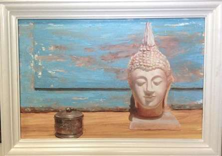 Religious Oil Art Painting title 'Serenity 7' by artist Rishi Kapil
