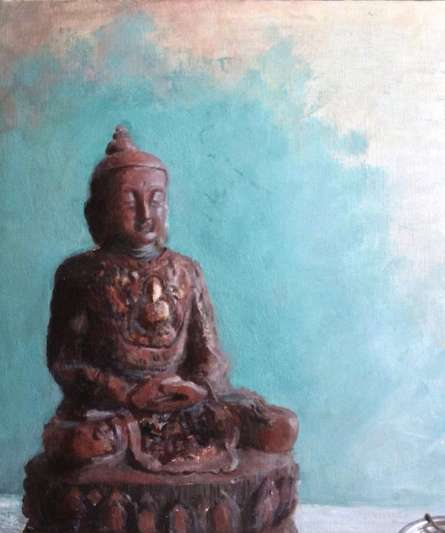 Religious Oil Art Painting title 'Serenity1A' by artist Rishi Kapil