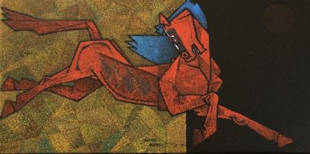 Animals Acrylic Art Painting title 'Adolscent 2' by artist Dinkar Jadhav