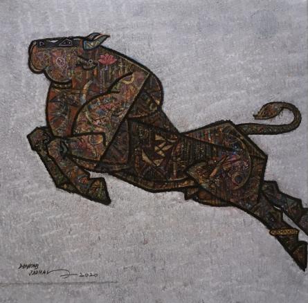 Animals Acrylic Art Painting title 'Aurthodox' by artist Dinkar Jadhav