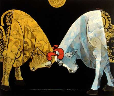 Animals Acrylic Art Painting title 'Bull Bendur' by artist Dinkar Jadhav