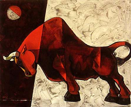 Animals Acrylic Art Painting title 'Bull 2' by artist Dinkar Jadhav