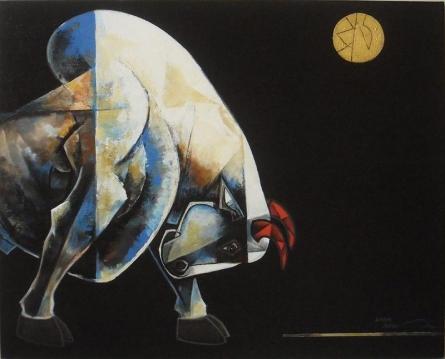 Dinkar Jadhav | Acrylic Painting title Bull 3 on Canvas | Artist Dinkar Jadhav Gallery | ArtZolo.com