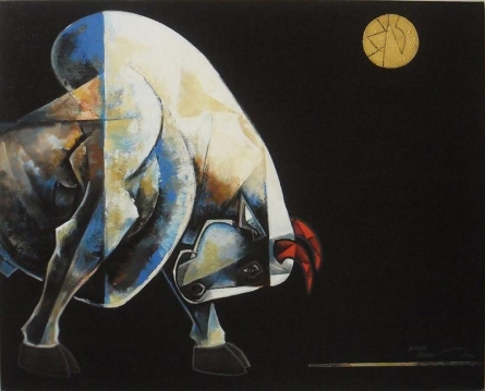 Animals Acrylic Art Painting title 'Bull 3' by artist Dinkar Jadhav