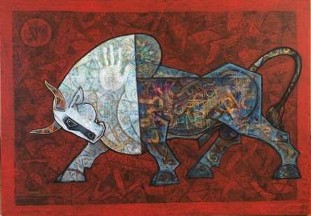 Animals Acrylic Art Painting title 'Bull' by artist Dinkar Jadhav