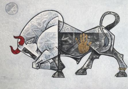 Bull 1 | Painting by artist Dinkar Jadhav | acrylic | Canvas