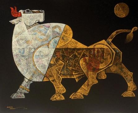 Bull 2 | Painting by artist Dinkar Jadhav | acrylic | Canvas