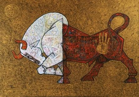 Dinkar Jadhav | Acrylic Painting title Bull 2 on Canvas | Artist Dinkar Jadhav Gallery | ArtZolo.com