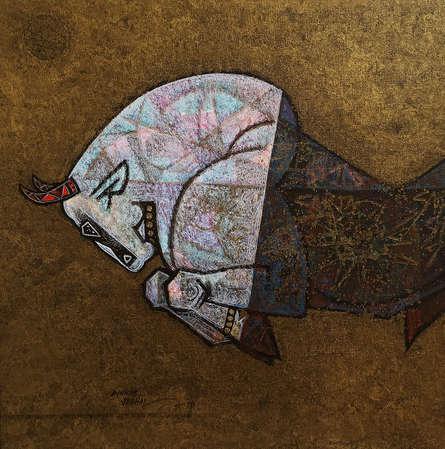 Dinkar Jadhav | Acrylic Painting title Celebration 2 on Canvas