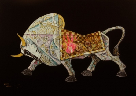 Animals Acrylic Art Painting title 'Bull Celebration XII' by artist Dinkar Jadhav