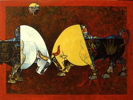 Animals Acrylic Art Painting title 'Celebration XIV' by artist Dinkar Jadhav