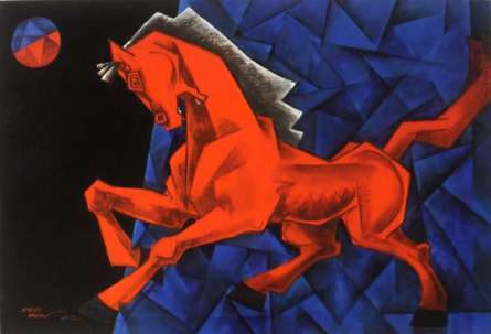 Dinkar Jadhav | Acrylic Painting title Charging Ahead In My Dream on Canvas | Artist Dinkar Jadhav Gallery | ArtZolo.com