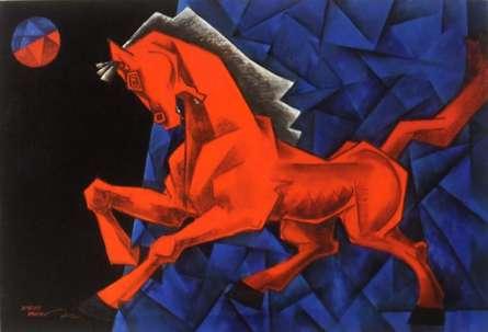Animals Acrylic Art Painting title Charging Ahead In My Dream by artist Dinkar Jadhav