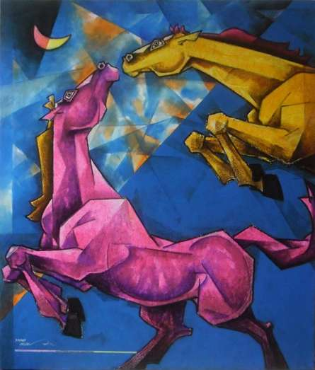 Horses - Colors Of Life - 2 | Painting by artist Dinkar Jadhav | acrylic | Canvas