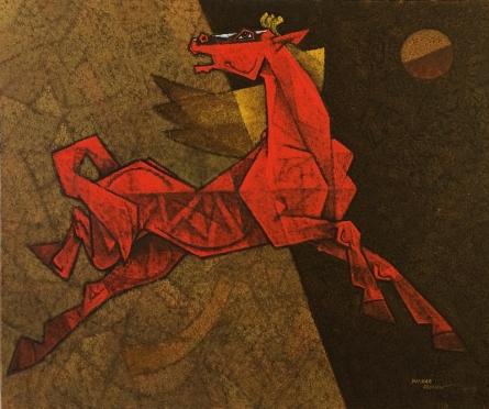 Dinkar Jadhav | Acrylic Painting title Horse Exaltation on Canvas | Artist Dinkar Jadhav Gallery | ArtZolo.com