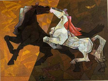 Animals Acrylic Art Painting title 'Horse Indecent Love' by artist Dinkar Jadhav