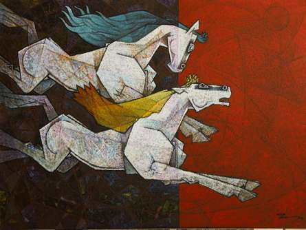Animals Acrylic Art Painting title 'Horse Love Has No Limits' by artist Dinkar Jadhav