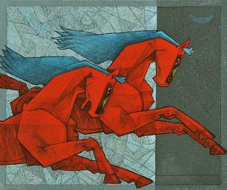 Animals Acrylic Art Painting title 'Horse Lust For Life 1' by artist Dinkar Jadhav
