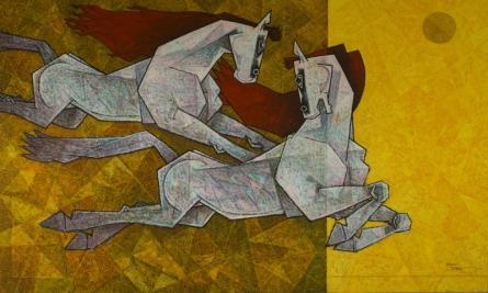 Horse - Lust For Life 3 | Painting by artist Dinkar Jadhav | acrylic | Canvas