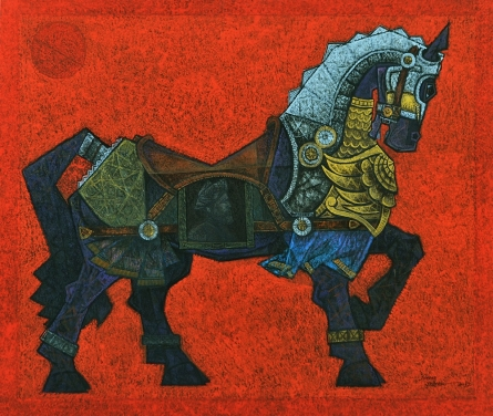 Animals Acrylic Art Painting title 'Horse Mask' by artist Dinkar Jadhav