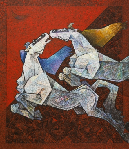 Animals Acrylic Art Painting title 'Horse Paasionate Lovers' by artist Dinkar Jadhav