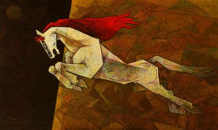 Animals Acrylic Art Painting title 'Horse The Effeminate' by artist Dinkar Jadhav