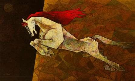 Horse - The Effeminate | Painting by artist Dinkar Jadhav | acrylic | Canvas