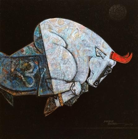 Bull - Virile   Painting by artist Dinkar Jadhav   acrylic   Canvas
