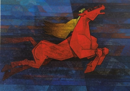 Animals Acrylic Art Painting title 'Horse Charging Forward' by artist Dinkar Jadhav