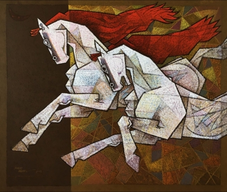 Animals Acrylic Art Painting title 'Horse Exaltation 2' by artist Dinkar Jadhav