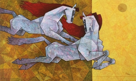 Animals Acrylic Art Painting title 'Horse Love Has No Limits 3' by artist Dinkar Jadhav