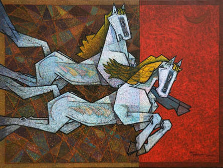 Animals Acrylic Art Painting title 'Horse Love Has No Limits 4' by artist Dinkar Jadhav