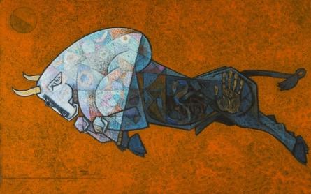 Bull - Insatiable Thurst | Painting by artist Dinkar Jadhav | acrylic | Canvas