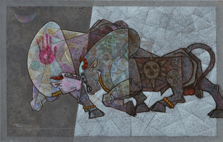 Bull - Lost In Love Mardav | Painting by artist Dinkar Jadhav | acrylic | Canvas