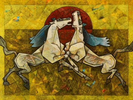 Animals Acrylic Art Painting title 'Horses Silsila the Paradox' by artist Dinkar Jadhav