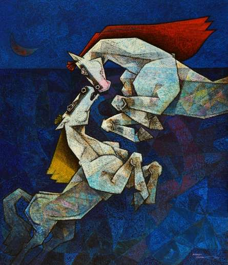 Animals Acrylic Art Painting title Horses The Saga Of Love by artist Dinkar Jadhav