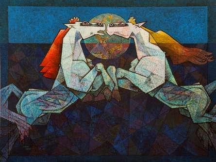 Dinkar Jadhav | Acrylic Painting title Horses The Twilight Saga on Canvas | Artist Dinkar Jadhav Gallery | ArtZolo.com