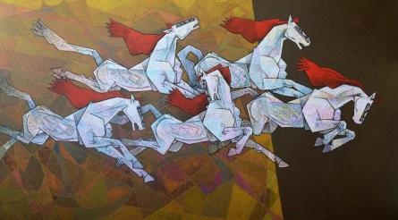 Animals Acrylic Art Painting title 'Horses 3' by artist Dinkar Jadhav