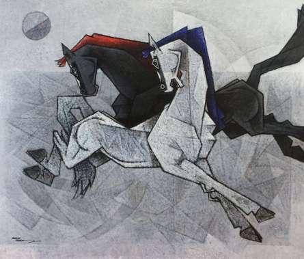 Animals Acrylic Art Painting title 'Horses Dancing Under The Moon 1' by artist Dinkar Jadhav