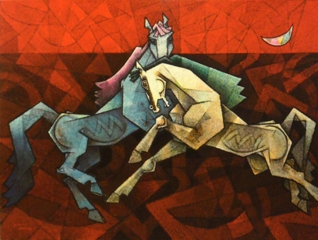 Animals Acrylic Art Painting title Horses Dancing Under The Moon 2 by artist Dinkar Jadhav