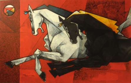 Animals Acrylic Art Painting title 'Horses Life In The Flash Light XV' by artist Dinkar Jadhav