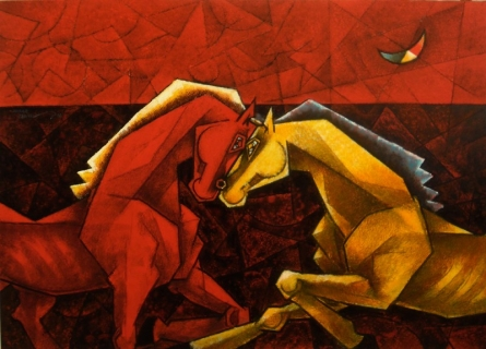 Animals Acrylic Art Painting title 'Love Knows No Reason V' by artist Dinkar Jadhav