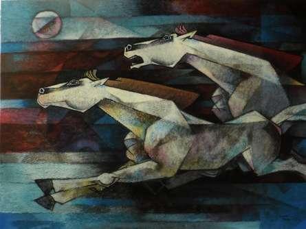 Horses Power Of Speed | Painting by artist Dinkar Jadhav | acrylic | Canvas