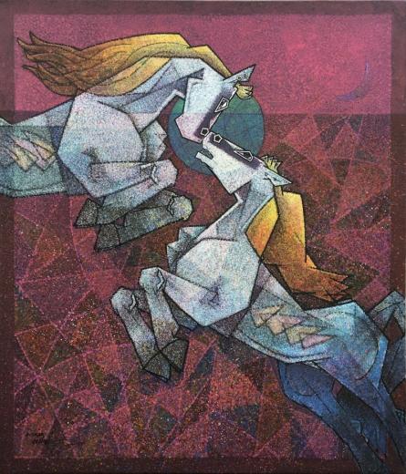 Dinkar Jadhav | Acrylic Painting title Saga Of Love on Canvas | Artist Dinkar Jadhav Gallery | ArtZolo.com